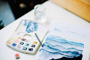 watercolors set