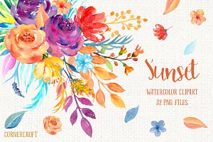 Watercolor Clipart Sunset