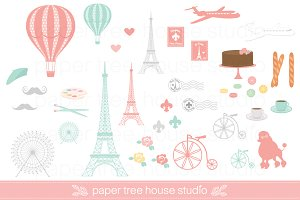 Paris Travel Clip Art Set