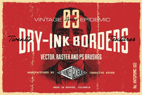 20 Dry-Ink Borders Textures - VES03