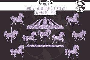 Lavender Glitter CarouselSilhouettes