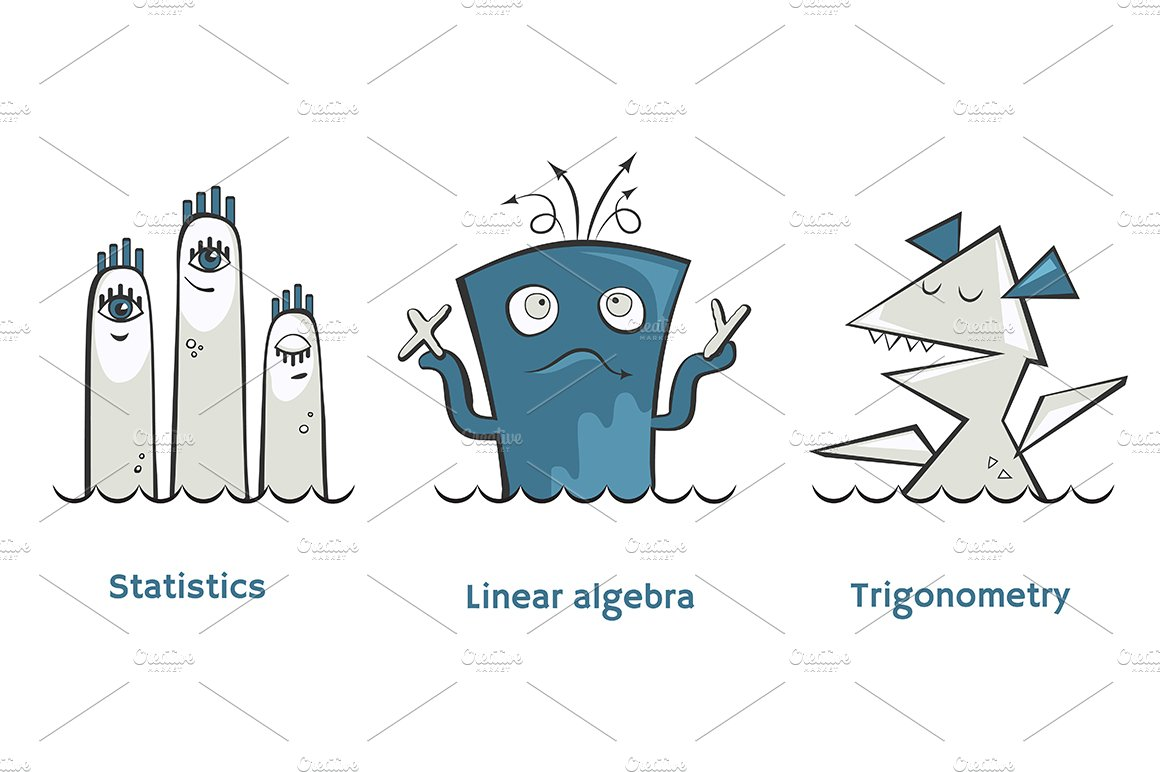 Set of math monsters ~ Illustrations ~ Creative Market