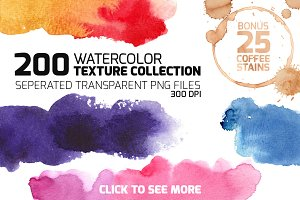 200 Watercolor Texture Collection