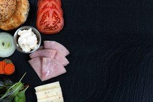Sandwich Ingredients on Slate Stone