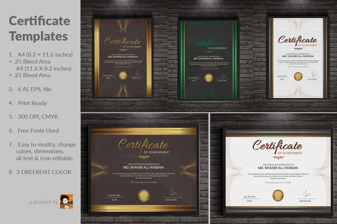 Certificate templates stationery templates creative market yadclub Image collections