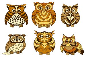 Cute brown cartoon owls birds