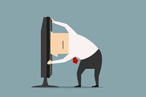 Overworked cartoon businessman