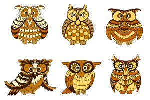 Cartoon owls birds