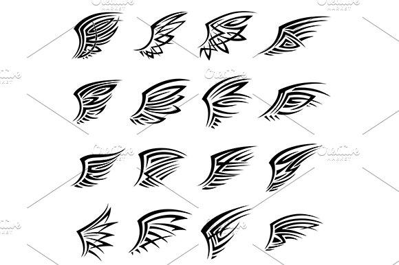 Black Tribal Wings Tattoo Designs Graphics Creative Market