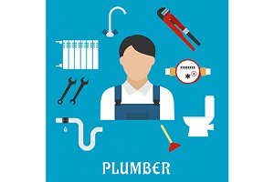 Plumber profession icons
