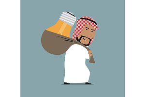 Arab businessman carrying idea