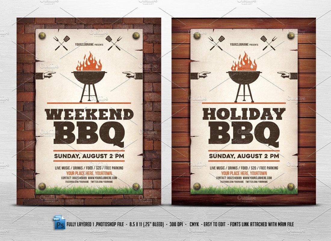 holiday weekend bbq flyer flyer templates creative market