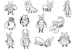 Funny cartoon outline insects