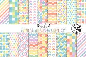 Seamless Pastel Rainbow Geometrics