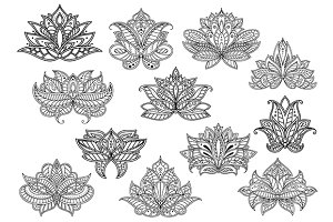 Oriental outline paisley flowers