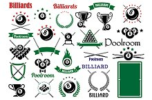 Billiards game and poolroom elements