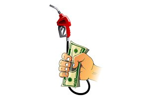 Gasoline pump nozzle and money