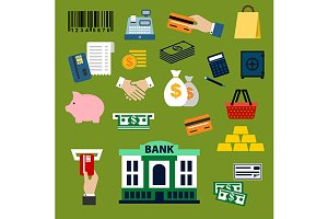 Finance, banking and retail icons