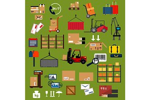 Storage, delivery, logistics icons