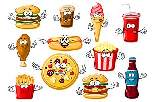 Happy cartoon fast food and drinks