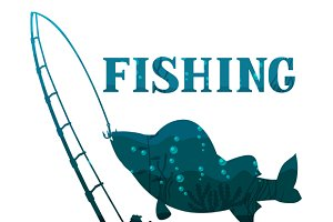 Fishing illustrations with fish.