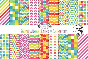 Seamless Bright Rainbow Geometrics