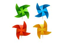Colorful Windmills. Vector