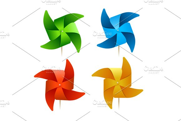 Colorful Windmills. Vector - Objects
