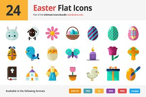 24 Easter Flat Icons