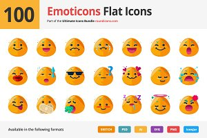 100 Emoticons Flat Icons