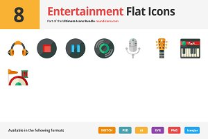 8 Entertainment Flat Icons