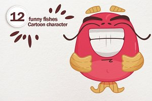 Funny fishes. Cartoon character