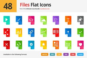48 Files Flat Icons