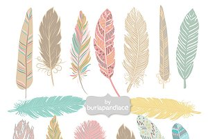 Hand Drawn Feather Aztec Clip Art