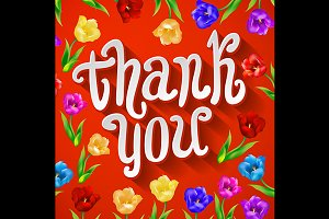 Thank You card in vintage red