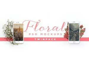 Floral iPhone Mockup Twin Pack
