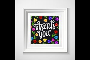 Thank You card in vintage black