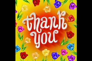 Vector Thank you floral elements