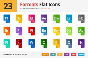 23 Formats Flat Icons