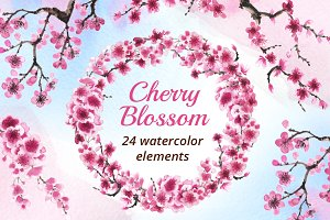 Cherry Blossom Watercolor Collection