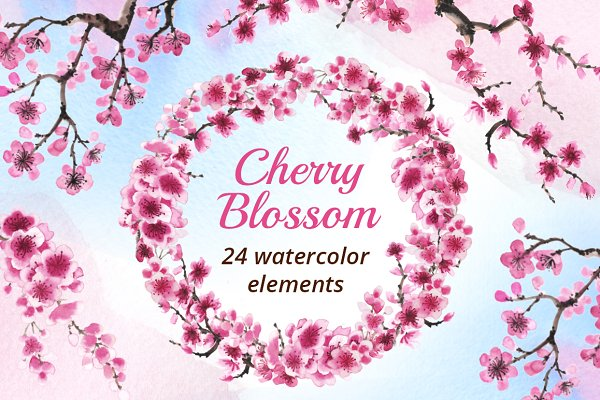Cherry Blossom Watercolor Collectio…