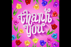 Thank you card in pink colors