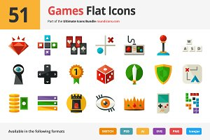 51 Games Flat Icons