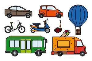City transport flat linear icons set