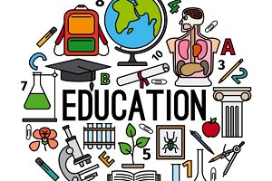 Education concept round label