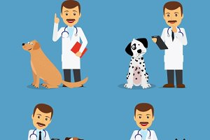 Veterinarian doctor with dogs