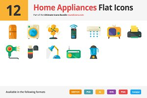 12 Home Appliances Flat Icons