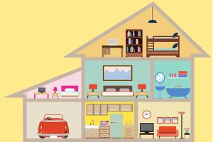House inside Vector Illustration