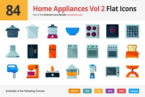 84 Home Appliances Vol 2 Flat Icons