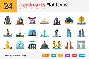 24 Landmarks Flat Icons